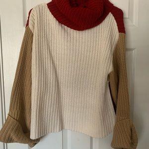Color lock turtle neck sweater ❤️